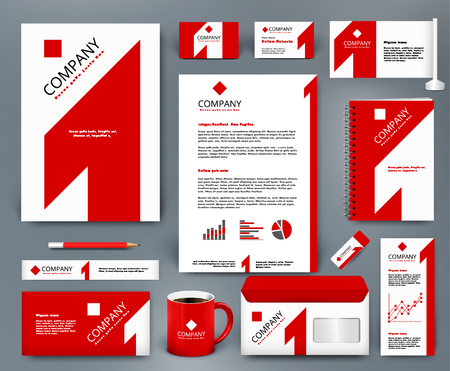 Professional universal branding design kit with red number one on white backdrop. Corporate identity template. Business stationery mockup. Editable vector illustration: folder, mug, etc. Illustration