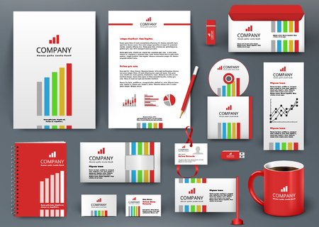 Professional universal branding design kit with color lines. Corporate identity template, business stationery mock-up for investment company. Editable vector illustration: folder, cup, etc.
