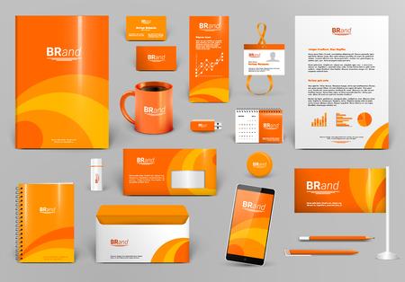 carpeta: kit de diseño de la marca de lujo de color naranja. Modelo de la identidad para el hotel, tienda, boutique o agencia de viajes. Papel del asunto maqueta. ilustración vectorial editable: carpeta, sobre, taza, tarjeta, etc.