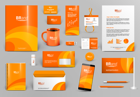Orange luxury branding design kit. Identity template for hotel, shop, boutique or travel agency. Business stationery mock-up. Editable vector illustration: folder, envelope, cup, card, etc.