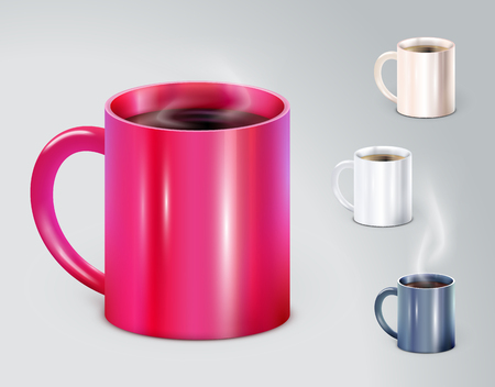 Set of high detailed vector illustration cups. Vector Illustration