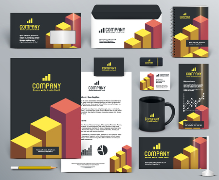 Professional  branding design kit  with graphs for investment, financial corp. Gold, yellow, orange, red, black colors. Premium corporate identity template. Business stationery mock-up