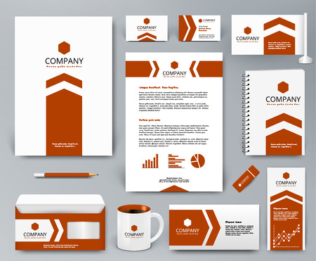 Professional universal branding design kit with orange arrow on white backdrop for real estate. Corporate identity template. Business stationery mockup. Editable vector illustration: folder, mug, etc.