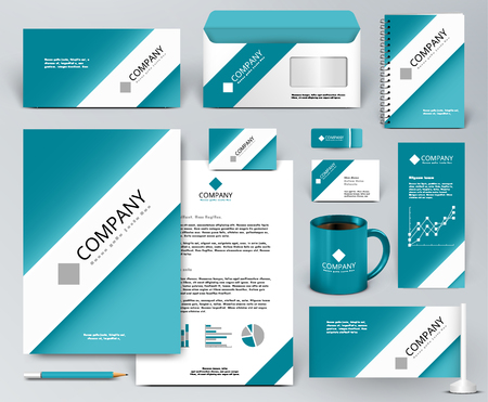 corporate identity template: Professional universal branding design kit. White tape, ribbon on blue backdrop. Corporate identity template. Business stationery mock-up. Editable vector illustration: folder, cup, etc.