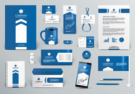 Kit professionnel de conception de marque de luxe bleu pour l'immobilier / investissement. Modèle d'identité d'entreprise Premium. Maquette de papeterie d'affaires. Illustration vectorielle modifiable: dossier, tasse, etc. Banque d'images - 56861262