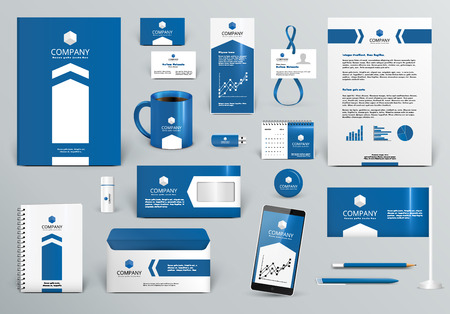 Professional blue luxury branding design kit for real estateinvestment. Premium corporate identity template. Business stationery mock-up . Editable vector illustration: folder, cup, etc. Иллюстрация