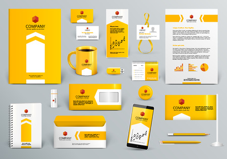 Professional yelloworange branding design kit for real estateinvestment. Premium corporate identity template. Business stationery mock-up. Editable vector illustration: folder, cup, etc. Ilustração