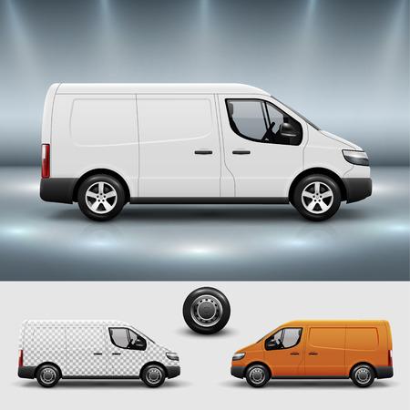 Reclame corporate identity sjabloon met commercieel vervoer bus. Mockup voor ontwerp met eenvoudig te laag samenstelling te gebruiken. Bewerkbare vector.