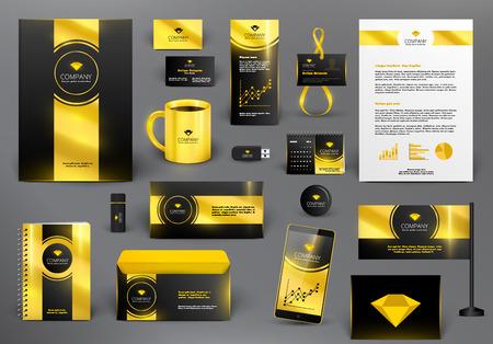 보석 가게에 대한 전문적인 브랜딩 디자인 키트. 황금 스타일. 프리미엄 기업 이미지 템플릿입니다. 비즈니스 편지지 모형