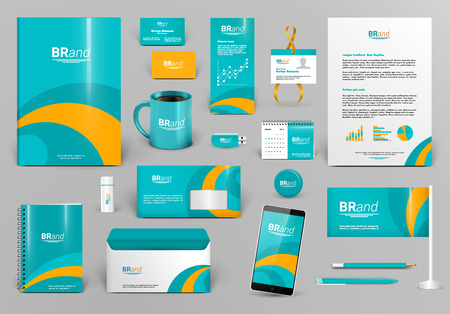 Green branding design kit. Corporate identity template for hotel, shop, entertainment. Business stationery mock-up. Editable vector illustration: folder, envelope, cup, card, etc. Illustration