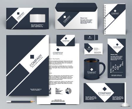 Professional universal luxury branding design kit. Premium corporate identity template. Business stationery mock-up. Editable vector illustration: folder, cup, etc.