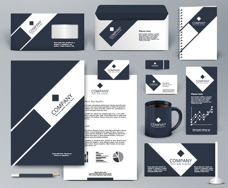 Professionele universele luxe branding design kit. Premium corporate identity template. Briefpapier mock-up. Bewerkbare vector illustratie: map, beker, enz. Stock Illustratie