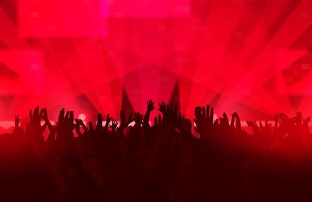 Muziekfestival met dansende mensen en gloeiende lichten. Creatieve illustratie.
