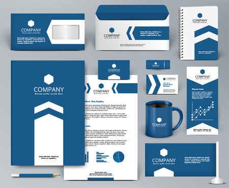 Professional blue luxury branding design kit with arrow for real estateinvestment. Premium corporate identity template. Business stationery mock-up. Editable vector illustration: folder, cup, etc.