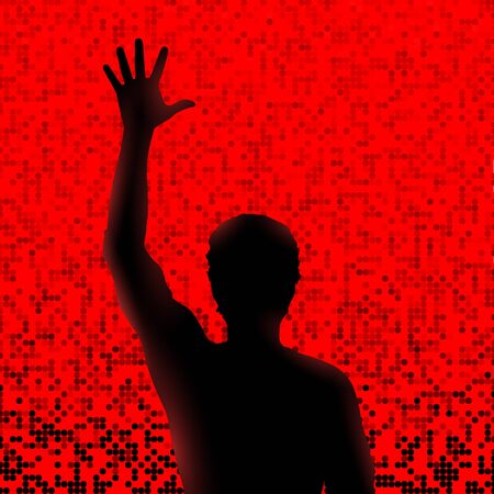 raised hand: Silhouette of man with raised hand
