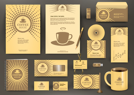 for design: Beige branding design for coffee shop, coffee  house, cafe, restaurant with cup icon. Corporate Identity kit. Business stationery mockup with folder, envelop, mug, pencil, badge, flag.