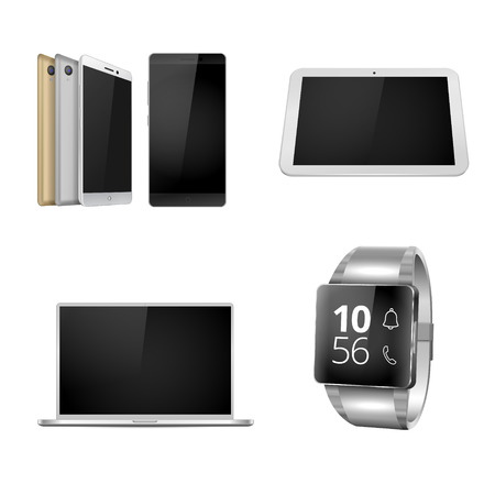 Mobile devices set. Smartphone, laptop, smart watch and tablet in resizable vector format