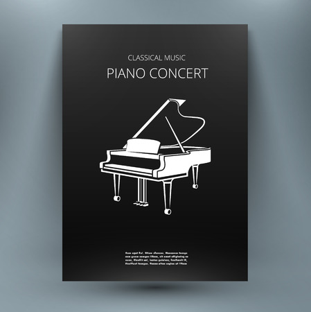 Grand piano music media design template for publication, advertisement, concert, contest, competition, teach-yourself book. Black and white style. A4 brochure title sheet. First start page of book.
