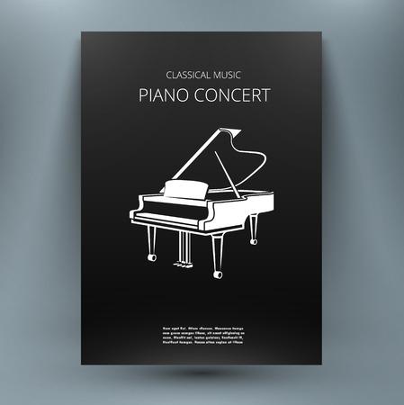 modèle Grand-design des médias de musique de piano pour publication, publicité, concert, concours, concurrence, enseigner-vous réserver. le style noir et blanc. A4 brochure titre feuille. Première page de début du livre.