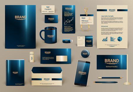 Blue luxury branding design kit for hotel. Premium corporate identity template. Business stationery mock-up and documentation. Editable vector illustration: folder, envelope, cup, card, etc.
