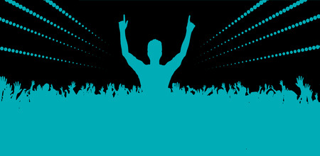 cheer up: Electronic dance music festival with silhouettes of happy dancing people with raised up hands.