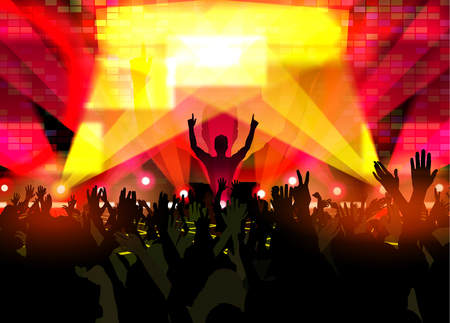 Electronic dance music festival with silhouettes of happy dancing people with raised up hands. Creative vector illustration.