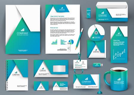 kit profesional de diseño universal de la marca azul con el elemento de origami. Modelo de la identidad corporativa, la empresa de papelería maqueta para la compañía de bienes raíces. Ilustración vectorial editable: carpeta, taza, etc. Ilustración de vector