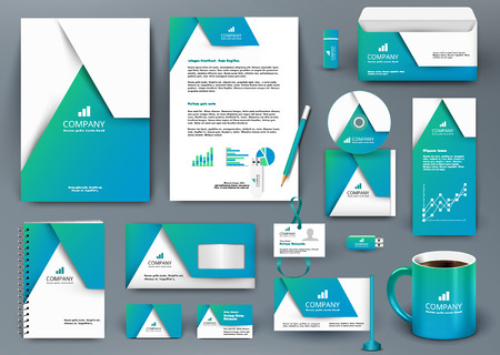Professional universal blue branding design kit with  origami element. Corporate identity template, business stationery mock-up for real estate company. Editable vector illustration: folder, mug, etc. Stock Illustratie