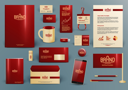 Corporate identity template. Branding design mock-up.  Letter envelope, card, catalog, pen, pencil, badge, paper cup, smartphone, letterhead, calendar