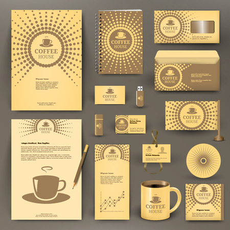 Beige branding design for coffee shop, coffee  house, cafe, restaurant. Corporate Identity kit  Business stationery mockup with folder, envelop, mug, pencil, badge, flag, pennant.
