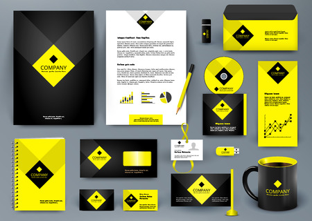 Professional  luxury universal branding design kit for jewelry shop, cafe, restaurant, hotel. Golden style with yellow. Premium corporate identity template. Business stationery mock-up Illustration