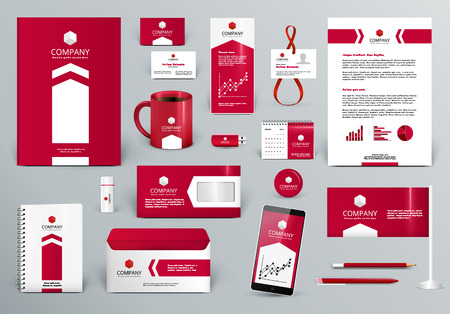 Professional red luxury branding design kit for real estate/investment. Premium corporate identity template. Business stationery mock-up. Editable vector illustration: folder, cup, etc.