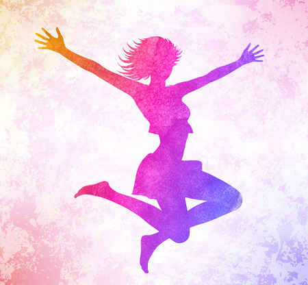 Watercolor attractive girl jumping hands up.  Vector illustration. Ilustrace