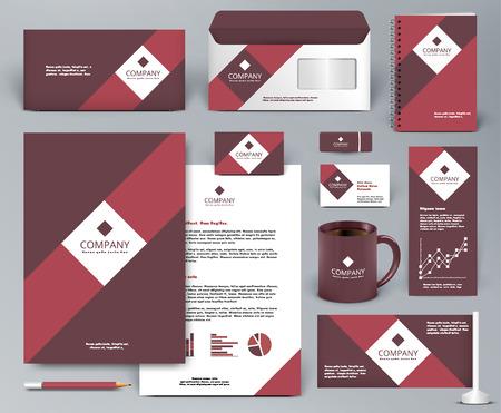 carpeta: kit profesional de diseño universal de la marca roja de tienda, cafetería, restaurante. Modelo de la identidad corporativa. Papel del asunto maqueta. Rojo, blanco, colores vinoso. Ilustración del vector: carpeta, vaso, etc.
