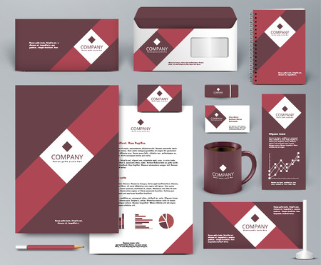 folders: Professional universal red branding design kit for shop, cafe, restaurant. Corporate identity template. Business stationery mock-up. Red, vinous, white colors. Vector illustration: folder, cup, etc.