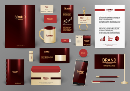 Corporate identity template. Branding design  .  Letter envelope, card, catalog, pen, pencil, badge, paper cup, smartphone, letterhead, calendar