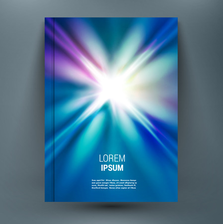 Abstract mock-up composition with spark on glory deep blue space backdrop. Light rays of distant galaxies in universe. Speed of light. Astral journey. Supernova star. A4 brochure title sheet.