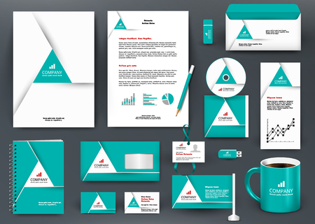 Professional universal green branding design kit with origami element. Corporate identity template, business stationery mock-up for real estate company. Editable vector illustration: folder, mug, etc. Ilustrace