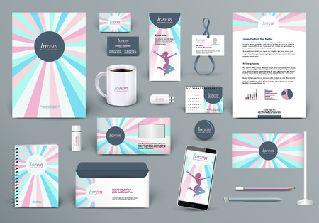 Professional branding design kit for beauty salon, woman fashion wear house or cosmetics shop, kid shop, medical center. Premium corporate identity template. Business stationery mock-up
