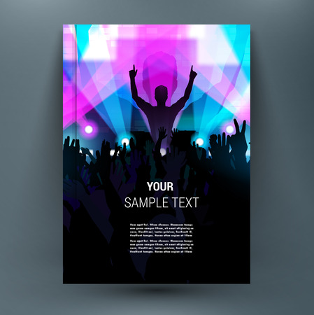 title hands: Midnight music festival with silhouettes of happy dancing youth people crowd on stage with raised up hands. Rays of spotlight. Summer open air. A4 brochure title sheet. First start page of book.