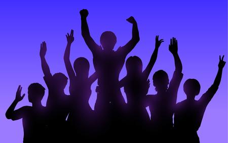 people jumping: Siluetas de la gente feliz con las manos arriba
