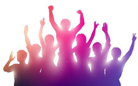 Silhouetten van gelukkige mensen met handen omhoog. Succesvol teamwork of muziek prestaties