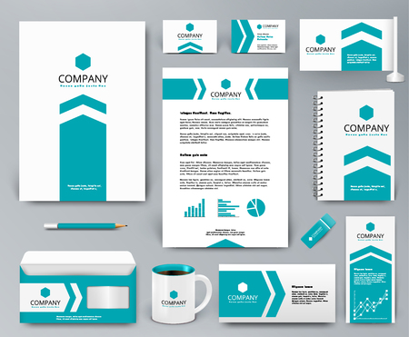 Professional universal branding design kit with blue arrow on white for real estateinvestment. Corporate identity template. Business stationery mockup. Editable vector illustration: folder, mug, etc. Illustration