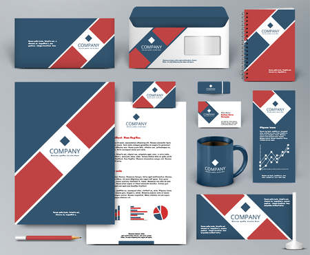 Professional universal branding design kit  with red tape on blue backdrop for real estate, cafe, restaurant. Premium corporate identity template. Business stationery mock-up. Editable vector illustration: folder, cup, etc. Illustration