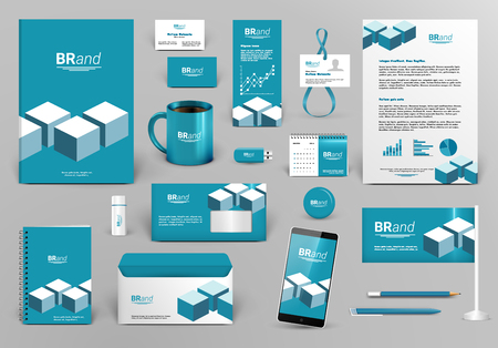 Professional blue branding design kit with bricks for real estate/investment. Corporate identity template. Business stationery mock-up. Editable vector illustration: folder, cup, etc.