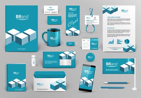 Professionele blauwe branding design kit met bakstenen voor vastgoed / investeringen. Corporate identity template. Briefpapier mock-up. Bewerkbare vector illustratie: map, beker, enz.