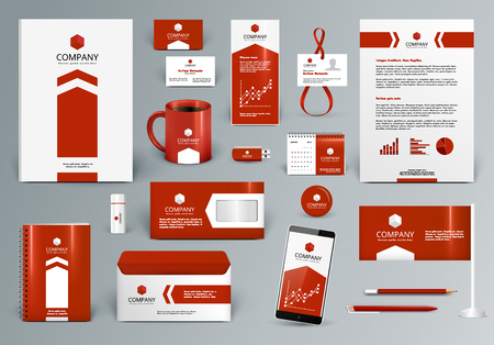 Professional red luxury branding design kit for real estate. Premium corporate identity template. Business stationery mock-up with . Editable vector illustration: folder, cup, card, etc.