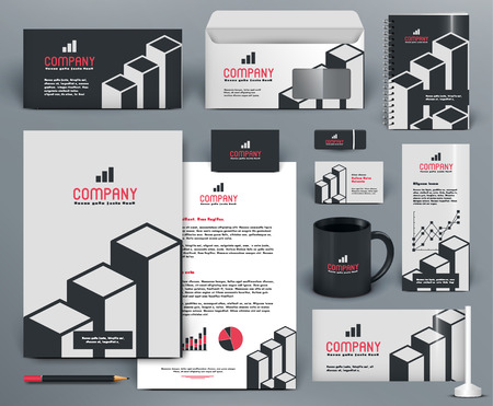 Professional  branding design kit  with graphs for investment, financial corp. Gray, white, red, black colors. Premium corporate identity template. Business stationery mock-up
