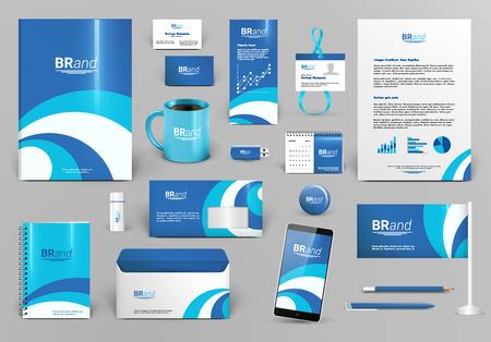 Blue branding design kit. Identity template with wave for spa, shop, boutique, medical stomatology or beauty ?entre. Business stationery mock-up. Editable vector illustration: folder, envelope, cup, card, etc.