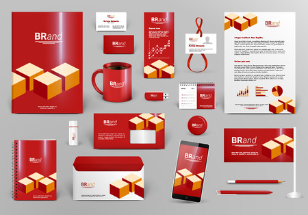 Red luxury branding design kit with cubes. Premium corporate identity template. Business stationery mock-up and documentation. Editable vector illustration: folder, envelope, cup, card, etc.